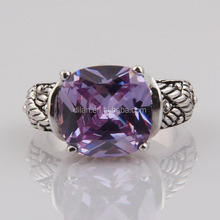 Fashion jewelry high quality antique silver plated big single stone men ring