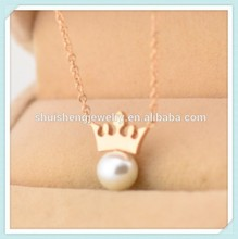 Paypal acceptable color preserving fashion latest design beautiful pearl necklaces with gold crown