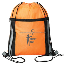 210D polyester reusable draw string sports bag with full length zipper pocket for outdoor events