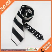 Black and white stripe ties 100% silk