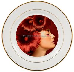 sublimation blank plate/sublimation plate/sublimation gold-rim plate