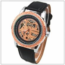 Alibaba china supplier Black Genuine Leather Army Skeleton Mechanical Sport Wrist Watch