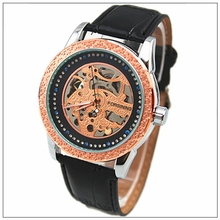 Alibaba china supplier Black Genuine Leather Skeleton Mechanical Sport Army Wrist Watch