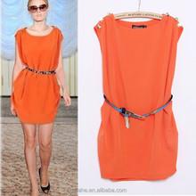 Summer Dress 2015 Casaul Straight Chiffon Dress Women With Belt Lady Sweet Mini Dress High Quality Shoulder Tunic Women Clothing