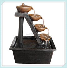 Resin four tier outdoor water fountain for home decoration