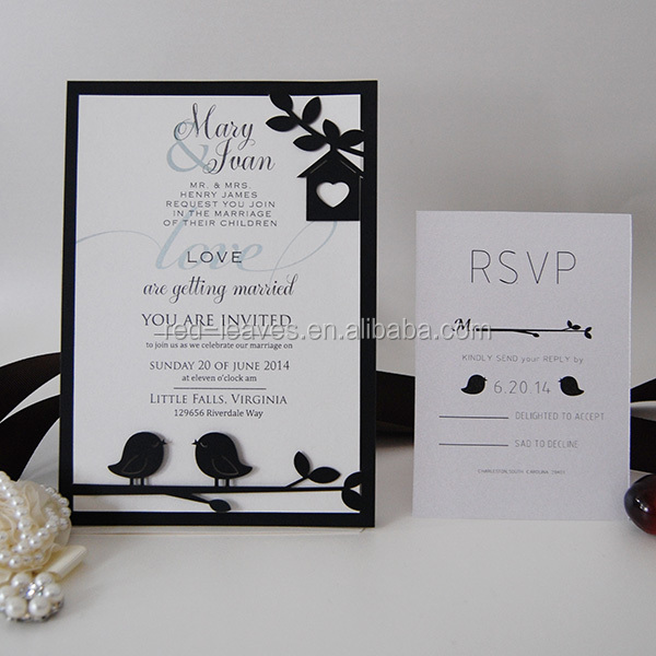 Butterfly Tie Wedding Freshers Party Invitation Cards