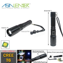 3 Lighting Modes 3 AAA Battery Powered Semi-auto zooming Aluminum Cree T6 10W Flashlight Bailong