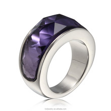 New Style Stainless Steel Ring Pave Shine Purple Stone model Wholesale