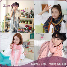 2015 New lovely women dot voile scarf wholesale