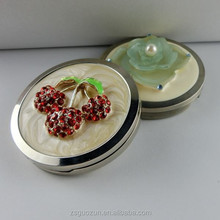 Beautiful Round Rhinestone Makeup Mirror 70mm Rhinestone / Small Makeup Mirror