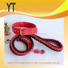 Top Quality Braided Dog Leads And Collars Set Metal Eyelets Adjustable Necklace Pet Dog Collar And Leash Set