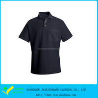 Plain Designed Solid Color High Quality Short Sleeve Pocketed Golf Shirt