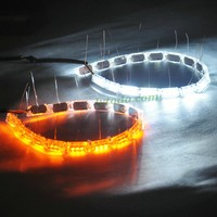 DC12V-24V Input crystal dual color white and yellow flexible led daytime running light for car headlight