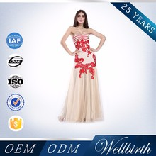 Alibaba Express Strapless Design Applique Red Long Lace Evening Dress