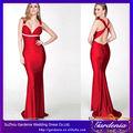 sereia bainha mangas praça vermelha e branca nova moda longo de cetim vermelho vestido de noite