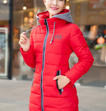 Woman down coats 2015 hoodies long feather quilted warm coats for winter