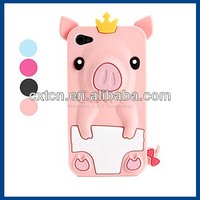 Unique Animal Shaped Crown Pig Design Silicone Back Cover Protective Case for iphone 4/4s