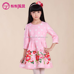 kids clothing wholesale custom dot printing child frock girls dresses design