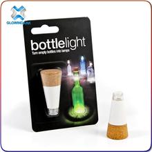 2015 blister card box packed led cork light for wine garden table night light gift for night club maketing