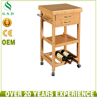 high quality bamboo hotel food service trolley with one wine rack , types of service trolley