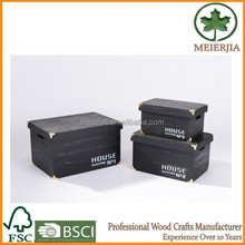 factory supply wooden storage case with lid and metal corner