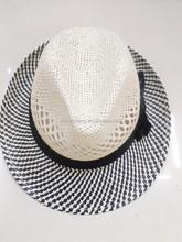 Fashion black white patterns straw fedora hat, nice design straw hat(HT-1504060005)