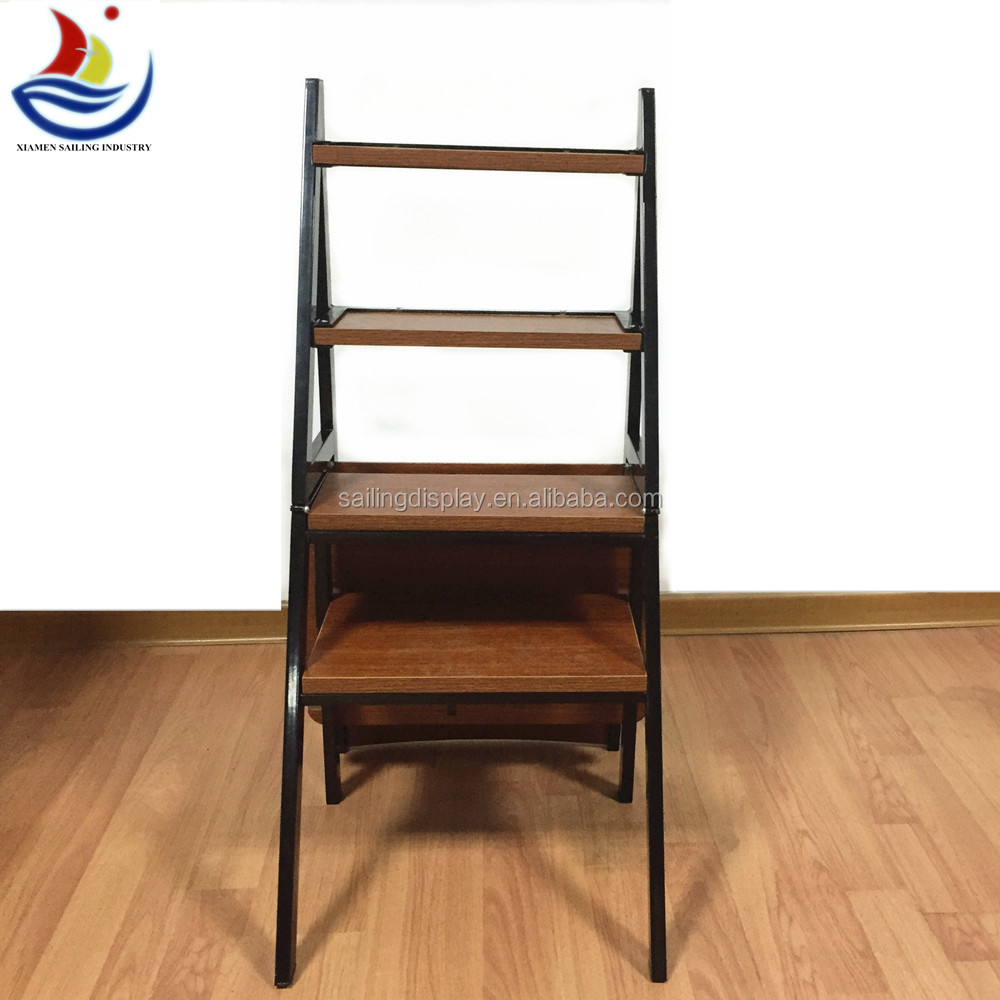 2015 Movable Display Rack Folding Step Ladder Chair Wooden Ladder Chair Foldi