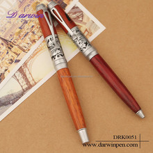 Twin wood pen with metal clip