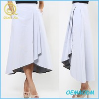 Elegant design overlap style pleated with side pockets ladies pretty midi length skirt