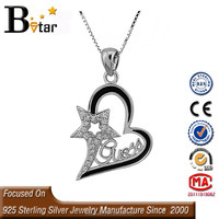 china alibaba 925 sterling silver north star pendant, heart shaped pendant for female