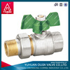 zhejiang 1/2 inch butterfly handle brass water ball cock valve with ball valve dn50