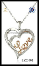 Always wiht you love and shaped 925 sterling silver pendant Necklace
