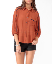 CHEFON Oversized contrast trim ladies latest blouse design pictures