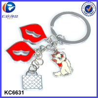 Metal Sexy red lips and mini animals and women items keychain