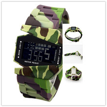 Fashion airplane design camouflage silicone wristband men sports military digital aircraft watch