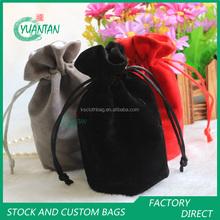 Wholesale round bottom drawstring velvet gift wine bottle bag