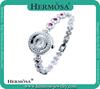 Hermosa Jewelry HOT SELLING Round Design Ruby Band 18K Pt Fashion Luxury Wrist Watch HS0030W
