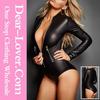Black Long Sleeve Zip Detail Bodysuit Mature Women Sexy Leather Lingerie