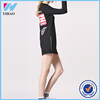Yihao fashion Women o-neck long sleeve both sides of the zipper design printed loose casual long T shirt Tops autumn