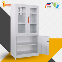 Good price white knock down metal glass book cabinet