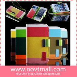 New stylish pu leather wallet cell phone cover, for iphone 5 case flip wallet stand