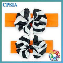 orange/black large satin bow knot turban hairbands little baby girls headbands and bows wholesale