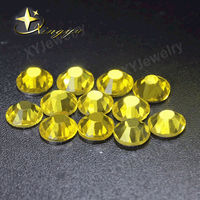 Lemon yellow color Round falt back glass rhinestons small sizes for nail art