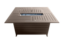 AZ Patio Rectangle Aluminum Slatted Fire Pit with Stainless Steel Propane Burner