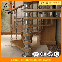 YY-G1260 Hehui iron exterior stair design prefabricated spiral stairs with double stringer timber stair