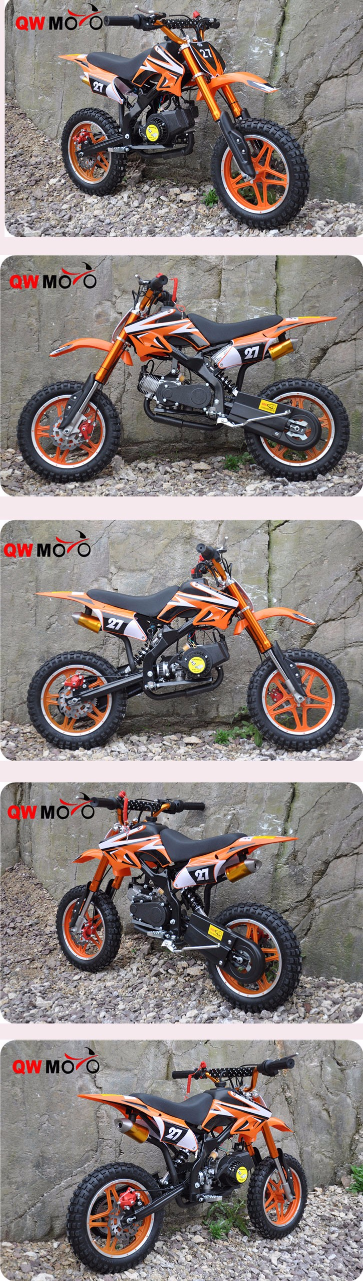 QWMOTO CE 50cc 2 temps mini enfants dirt bike pas cher 50cc pas cher dirt bike pour les enfants