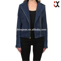 2015 top lady blue zip jacket woman denim jacket (JXW1507)