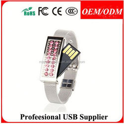 custom crystal usb drive with necklace , new arrive pop christmas promotion gift waterproof silicone wrist watch