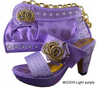 MS3114 purple gold hand bag Crystals And Rhinestones Wedding High Heels Bridal Shoes And Matching Bags
