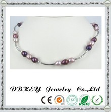 7mm Silver Pearl Necklace designs Rice PURPLE Color handmade jewelry
